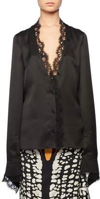 Alexander McQueen Deep-V Button-Front Long-Sleeve Double-Satin Blouse w/ Lace Trim
