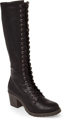 Madden-Girl Black Kase Lace-Up Tall Boots