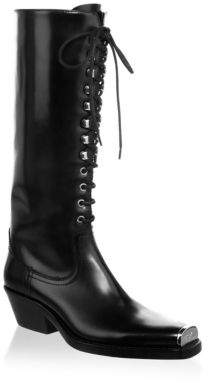 CALVIN KLEIN 205W39NYC Lace-Up Leather Tall Boots