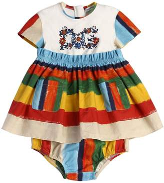 Dolce & Gabbana Stripes Poplin Dress & Diaper Cover
