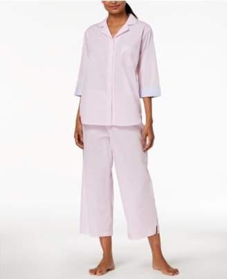 Miss Elaine Petite Striped Cropped Pajama Set