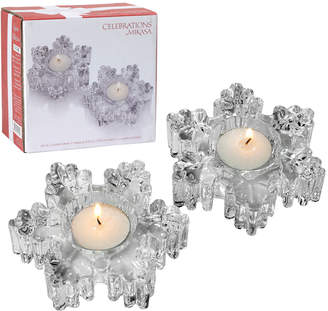 Mikasa Celebrations By Set of 2 Glass Snowflake Tealight Holders