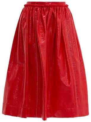 Marni Crackle Coated Midi Skirt - Womens - Red
