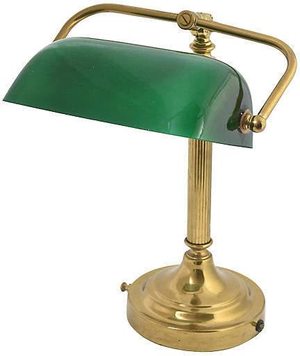 One Kings Lane Vintage Brass Banker's Desk Lamp - Owl's Roost Antiques