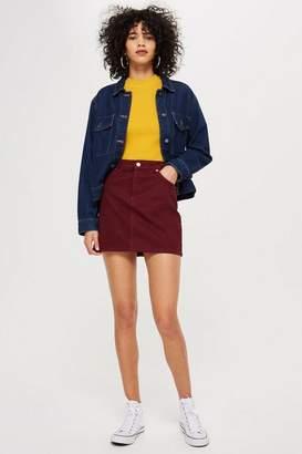 Topshop Burgundy Denim Skirt