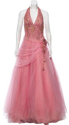 Terani Couture Embellished Halter Gown