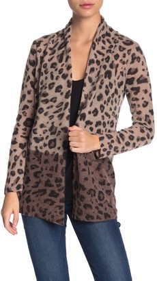 Magaschoni M By Leopard Print Pocket Cashmere Cardigan (Petite)