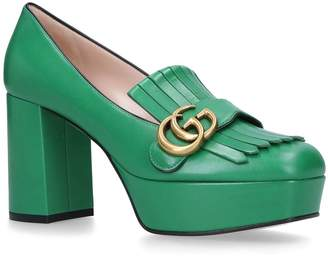Gucci Leather Platform Marmont Loafers 55