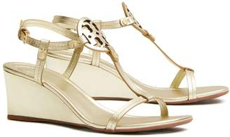 Tory Burch MILLER WEDGE SANDAL, METALLIC LEATHER