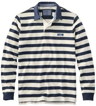 L.L. Bean L.L.Bean Men's Lakewashed Rugby, Traditional Fit Long-Sleeve Stripe