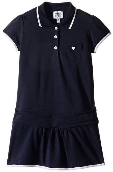 Armani JuniorArmani Junior Navy Drop Waist Polo Dress (Toddler/Little Kids/Big Kids)