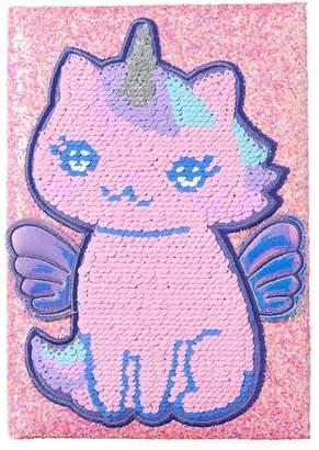 Girls Smiggle Cutiecorns A5 Reversible Sequins Notebook - Pink