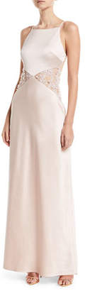Maria Bianca Nero Lana Lace-Insert Sleeveless Gown