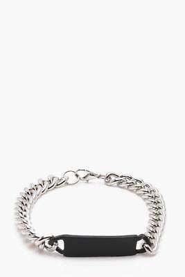 boohoo NEW Mens Silver And Black ID Bracelet in Silver size One Size