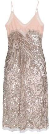 Lace-Paneled Embellished Silk-Tulle Dress