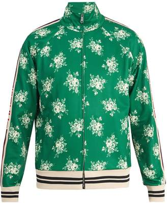 Gucci Floral-print Web-trimmed jersey track top