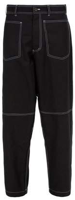 Comme des Garcons Loose Fit Wool Blend Trousers - Mens - Black