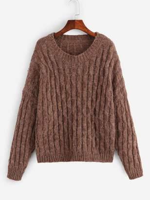 Shein Plus Drop Shoulder Cable Knit Sweater