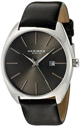 Akribos XXIV メンズシルバートーンケースシルバートーンのアクセントグレーダイヤルonブラック純正レザーストラップウォッチak945ssbk