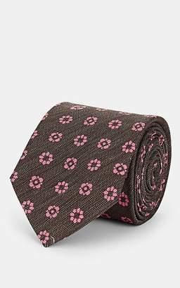 Barneys New York Men's Floral-Print Mélange Silk Necktie - Brown