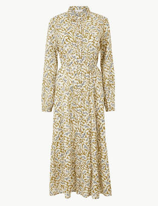 Marks and Spencer Pure Cotton Tiered Maxi Shirt Dress
