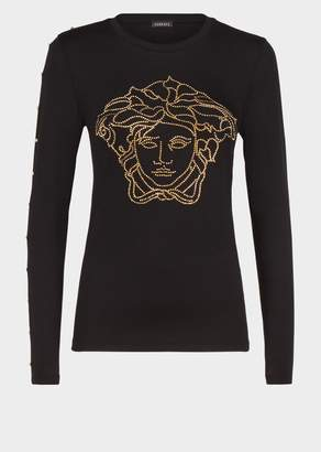 Versace Medusa Button Long Sleeve T-Shirt