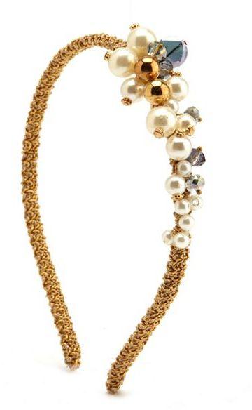 Charlotte Russe Pearl Cluster Golden Headband