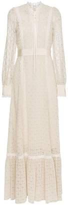 Gucci Macramé Logo Lace-Trimmed Gown