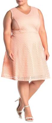 Sharagano V-Neck Eyelet Knit Fit & Flare Dress (Plus Size)