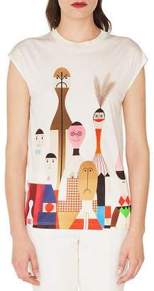 Akris Cap-Sleeve Wooden Doll-Print Silk Jersey Tunic Shirt