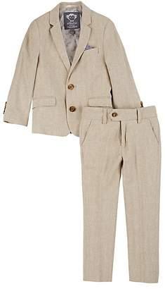Appaman Kids' Herringbone Linen-Cotton Two-Button Suit