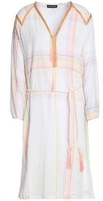 Antik Batik Tasseled Embroidered Checked Cotton-Voile Dress