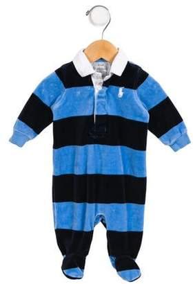 Ralph Lauren Boys' Striped Velvet All-In-One