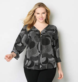 Avenue Dash and Dot Zip Blouse