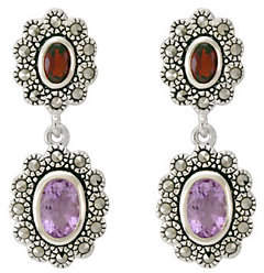 Suspicion Sterling Marcasite Oval Garnet & Amet hyst Earrings