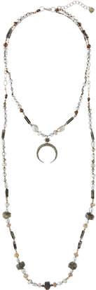 Nakamol Long Labradorite Moon Pendant Necklace