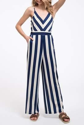 Blu Pepper Stripe Wide Leg Jumpsuit