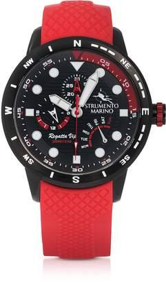 Strumento Marino Regatta Vip Black Stainless Steel Men's Chronograph Watch w/Red Silicone Band