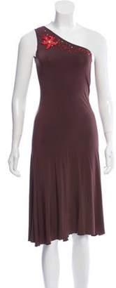 Blumarine One-Shoulder A-Line Dress Brown One-Shoulder A-Line Dress