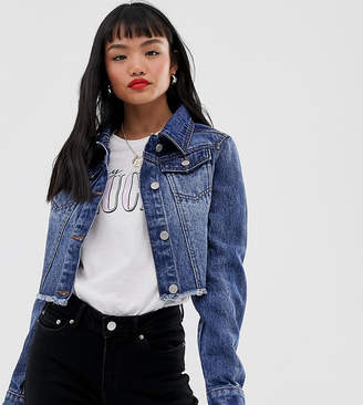 Brave Soul Petite cropped denim jacket in mid wash