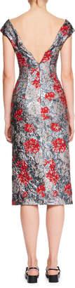 Erdem Off-the-Shoulder Floral-Brocade Pencil Cocktail Dress
