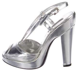 Burberry Metallic Slingback Sandals