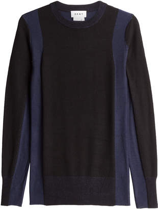 DKNY Two-Tone Pullover with Merino Wool