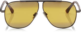 Jimmy Choo EWAN Brown Mirror Aviator Sunglasses with Ruthenium Havana and Silver Titanium Frame