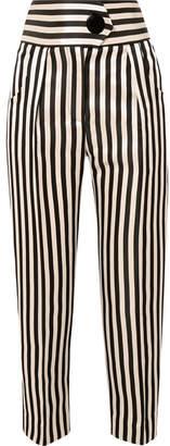 Petar Petrov Striped Duchesse Silk-satin Straight-leg Pants - Black