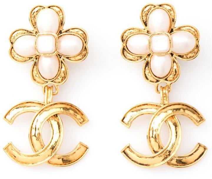 Chanel flower drop earrings