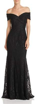 Aqua Off-the-Shoulder Lace Gown - 100% Exclusive