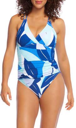 La Blanca Palm Reader Surplice One-Piece Swimsuit