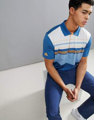 adidas Ultimate 365 Engineered Polo In Blue Stripe CF7983
