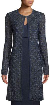 St. John Jewel-Neck Metallic Diamond-Lace Jacket